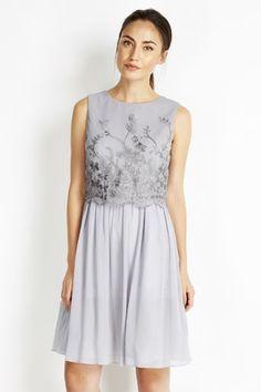 Little Mistress Grey Embellished Layer Dress #lovewallisx