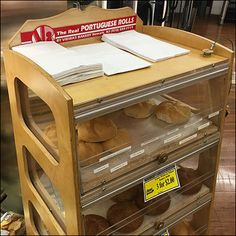 Portuguese-Roll Wood Bakery Rack Retail Fixtures, Wood Rack, Drafting Desk, Portuguese, Clear Acrylic, Bakery, Rolls, Shelves, House Styles