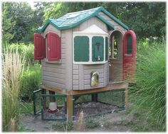 Glad I didn't throw away that Fisher Price playhouse my husband has been trying to make me get rid of.  Have you seen the price of the BYCC kits??  mpfs Member Page - BackYard Chickens Community