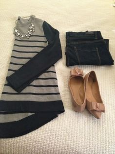 Striped Sweater and Skinny Jeans...the shoes!