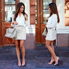 Suede skirt with neutrals