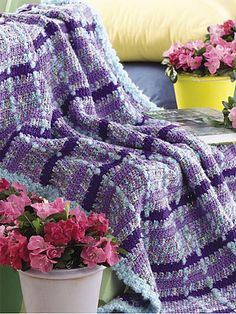 Monet Plaid afghan, free pattern  . . . .   ღTrish W ~ http://www.pinterest.com/trishw/  . . . .    #crochet #blanket #throw