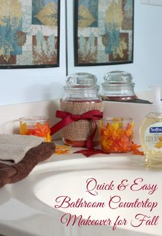 American Home Candles Quick and Easy Bathroom Countertop Makeover for Fall #LoveAmericanHome #ad
