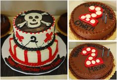 PIRATE SKULL CAKE (with individual cakes for the birthday boys)