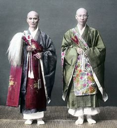 Two priests. Hand-colored photo, about 1870's, Japan.