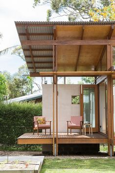 Award winning architect merging sustainability with bespoke design. Tiny House Cabin, Small House Design, House In The Woods, Cabana, Architecture Details, Home Projects, Beautiful Homes, House Plans, Backyard
