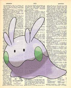 Goomy Pokemon Dictionary Art Print by MollyMuffinsPrints on Etsy