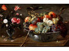 FRÜCHTESTILLLEBEN MIT BLUMENVASE Öl auf Leinwand. 46 x 74 cm. Dem Gemälde ist eine Expertise von Liliane Huillet beigegeben, datiert 3.7.2015. Auf einer...