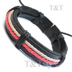 T T Black Leather Bracelet Wristband LB238 | eBay