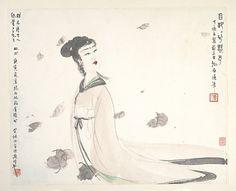 FU BAOSHI (1904~1965)Goddess of the River Xiang.  ink and color on paperl. Dated: 1947  30.5×39cm 傅抱石(1904~1965)湘夫人 設色紙本鏡片 款識:目眇眇兮愁予丁亥立夏前三日抱石漫筆 鈐印:傅(朱文)