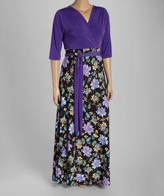 Love this Purple Floral Surplice Maxi Dress - Plus on #zulily! #zulilyfinds