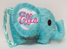 Personalized Floppy Ear Aqua Chevron Plush by MonogramPerfect, $26.95