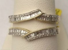 10kt Yellow Gold Baguette And Round Diamonds Ring Guard Wrap Solitaire Enhancer…
