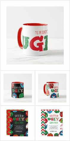 """Ugly Sweater Prepare the ugliest sweater party this year with our """"Ugly Sweater"""" Collection. Invitations, greetings and products for Christmas / the holiday season. Holiday Cards, Christmas Holiday, Ugly Sweater Party, Holiday Invitations, Invites, Being Ugly, Happy Holidays, Keep It Cleaner, Joy"""
