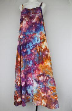 Tie dye Long Sun dress Rayon Summer festival by ASPOONFULOFCOLORS