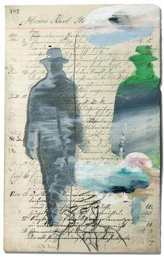 Pessoa Glicée Art print.  Edición limitada. Pintura de Juanma Pérez sobre  documento alemán antiguo de Juanmaperez en Etsy