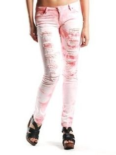 Tye Dye Destroyed Skinny - Denim Jeans - BOTTOMS AGACI - StyleSays need-these-mines accessories-and-clothes