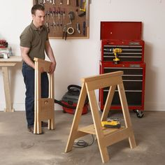 Fold-Flat Sawhorses Woodworking Plan from WOOD Magazine