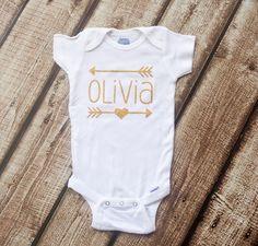 Personalized Gold Glitter Arrow Heart Onesie, Custom Gold Glitter Arrow Onesie, Bodysuit by pinkblossomdesignco on Etsy