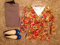 Fall Work: Talbots faux-wrap blossoms blouse, Express heathered-rye straight-legged pants, Express rose-gold necklace, Tory Burch blue ballerina flats