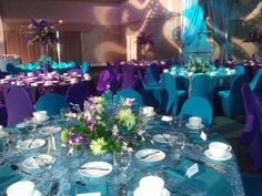 Flowers, lights, centerpieces for Sweet fifteen www.DreamARKevents.com purple and turquoise looks nice!