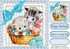 Kittens in a basket with balls of wool and cotton 8x8 on Craftsuprint - Add To Basket!
