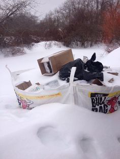 Let's see a metal dumpster company pick up their dumpster when it's buried like this! BullBag can and does pick up the BullBags even when buried and covered in 3ft of snow! The Best is that you only pay for the height of the stuff you fill with - not by weight like metal dumpsters so you never pay for snow, ice, water or slush! Metal dumpster got nothin on a BullBag!