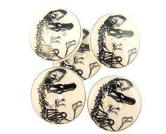 Dinosaur Skeleton Sewing Buttons.  5 Handmade by onthedarkerside, $9.99