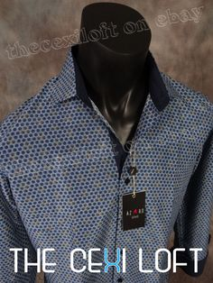 """Mens SUSLO COUTURE Sport Shirt Fashion Navy Patterns """"Slim Fit"""" Button-Up 