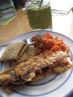 Bacon! The Paleo Mom's plantain crackers, green veggie smoothie, fermented veggies.