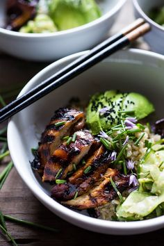 Japanese Farm Style Teriyaki Bowl - can be made with grilled chicken or portobellos, with refreshing cucumber sesame ribbon salad, avocado, and sweet brown rice. | www.feastingathome.com #bowl #portobello #grill #grilling #grilled #grilledchicken #teriyaki