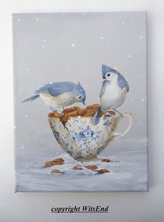 Bird teacup painting art THE GIFT by 4WitsEnd via Etsy