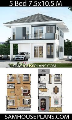 House Plan Discover House Plans Idea with 5 bedrooms - Sam House Plans House Plans Idea with 5 bedroomsThe House has:Building size (m X m) : x size (Sq.m) : size (Square wah) : 42 Two Storey House Plans, 2 Storey House Design, Two Story House Design, Duplex House Plans, Bungalow House Design, Small House Design, Dream House Plans, House Front Design, Modern House Design