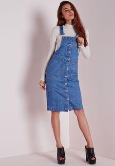 8656b76a5c Denim Pinafore Button Down Midi Dress - Dresses - Day Dresses - Missguided  Stylish Jeans