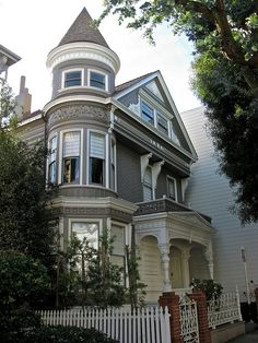 Victorian house with a turret.