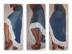 Repurposed Denim Skirt, Ruffled, Boho Chic, Upcycled
