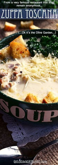 One of the best recipes for soup that I've ever eaten. Ever. Everyone wants to copy this Olive Garden recipe. Savory magic in your mouth, lick the bowl goodness :0)