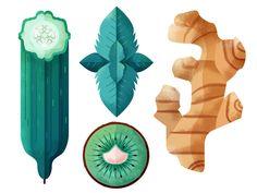 Illustration, Vegetables, Illustrator, Texture, Pattern, Kiwifruit, Cucumber