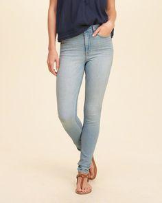 Hollister High-Rise Super Skinny Jeans- light wash