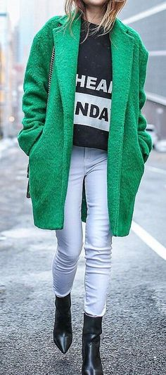 spring outfit idea with a green coat