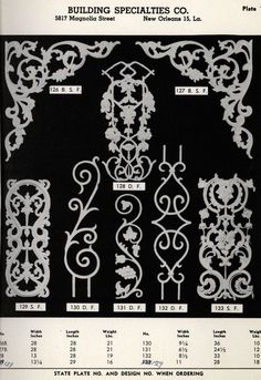 Ornamental Designs of Old New Orleans, 1930.  Building Specialties Co. From the Association for Preservation Technology (APT) - Building Technology Heritage Library, an online archive of period architectural trade catalogs. Select an era or material era and become an architectural time traveler. Original from the Tulane University Southeastern Architectural Archive.