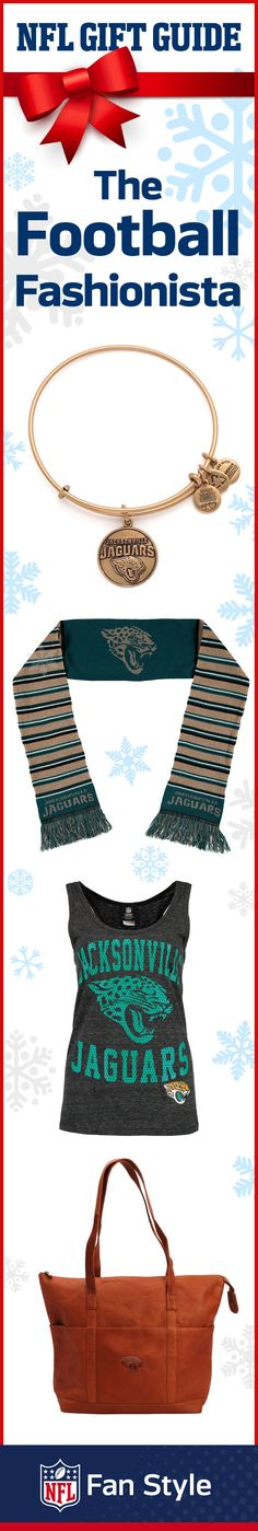 Find the perfect gift for the trendsetting, football-loving gal on your list. From scarves to leather bags or a bangle bracelet, these Christmas gifts are all perfect for the Jacksonville Jaguars.