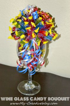 How to make a candy bouquet using a wine glass