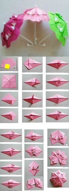 The method to DIY origami umbrella.Collect this if you li ke ! Origami umbrella for Sylvanian Families? You can make a butterfly form of origami. An origami butterfly can be hanged on your bedroom wall making it looks beautiful. You will require origami p Diy Origami, Origami And Kirigami, Origami Paper Art, Origami Butterfly, Origami Tutorial, Diy Paper, Paper Crafting, Origami Folding, Origami Instructions