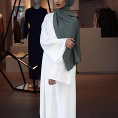Concealed holiday essentials without the added hassle of layering in the heat! Ivory Kaftan with Lace Also available in mustard, online and in store! Pair with our Khaki Soft Touch. Islamic Fashion, Muslim Fashion, Modest Fashion, Fashion Outfits, Style Fashion, Muslim Dress, Hijab Dress, Hijab Outfit, Modest Wear
