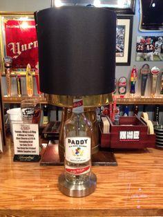 Paddy Irish Whiskey Liquor Bottle Lamp with Brushed Silver Base by ThatsBadAss on Etsy