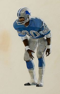 Lem Barney of the Detroit Lions Detroit Lions Football, Oakland Raiders Football, Nfl Football Players, Detroit Sports, Football Art, Vintage Football, American Football, Football Field, Football Helmets