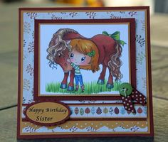 My sister's horse card