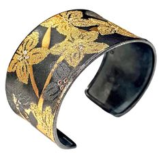 Atelier Zobel Handmade Fused Diamond Oxidized Silver Pure Gold Flower Cuff | From a unique collection of vintage cuff bracelets at https://www.1stdibs.com/jewelry/bracelets/cuff-bracelets/