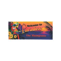 Personalized Luau Parrot Banner - Small - OrientalTrading.com
